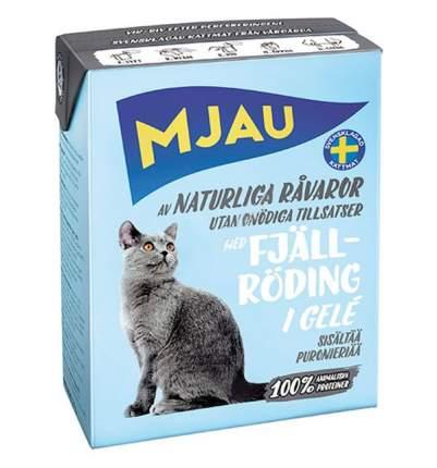 Влажный корм для кошек Mjau, мясные кусочки в желе с арктическим лососем, 380г