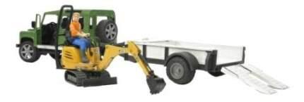 Внедорожник Bruder Land rover defender c прицепом-платформой, гусеничным экскаватором