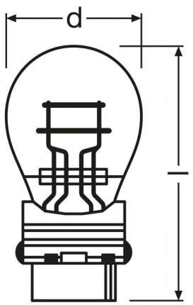 Лампа накаливания автомобильная OSRAM 27 7W (3157)