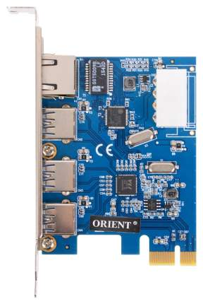 PCI-e контроллер USB ORIENT VA-3U3A88PE USB 3.0 3ext RJ45 VIA VL805 ASIX AX88179