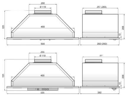 Вытяжка встраиваемая Elikor Врезной блок 52Н(П)-400-П3Д Silver