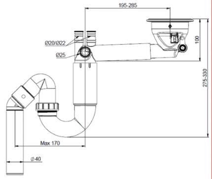 Сифон для кухонной мойки Prevex PL1-R9CR5-SANT-01