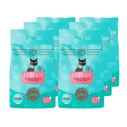 Комкующийся наполнитель для кошек СиСиКэт бентонитовый, 1 кг, 5.3 л, 6 шт
