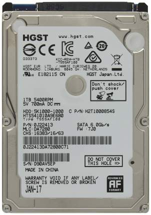 Внутренний жесткий диск HGST Travelstar 5K1000 1TB (HTS541010A9E679)