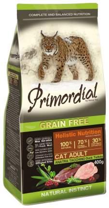 Сухой корм для кошек Primordial Natural instinct, беззерновой, утка, индейка, 0,4кг