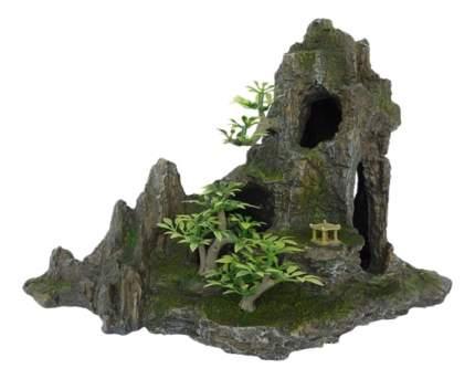 Грот для аквариума Скала с пещерой и деревьями