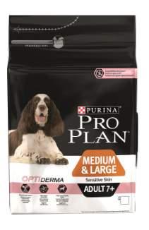 Сухой корм для собак PRO PLAN OptiDerma Medium & Large Adult 7+, для пожилых, лосось, 14кг