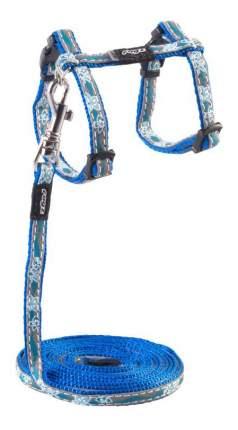 Комплект поводок и шлейка для кошек Rogz NightCat XS-8мм 1,8 м (Голубой CLJ208B)