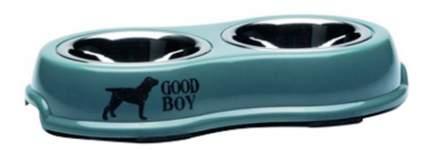 Двойная миска для собак Beeztees, сталь, голубой, серебристый, 2 шт по 0.35 л