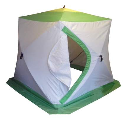 Палатка Медведь Куб трехместная белая/желтая/зеленая