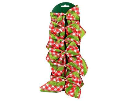 Набор бантиков Рождественская Клетка тканные 6*12 см, 6 шт 194219