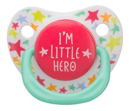 Соска-пустышка силиконовая ортодонтической формы I am a Hero Happy Baby