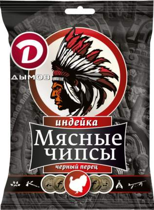 Чипсы мясные сыровяленые Дымов из индейки с черным перцем 28 г