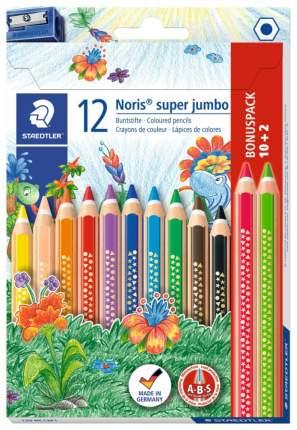 Карандаши цветные Staedtler Noris Club Super Jumbo 129 10+2 цвета с точилкой