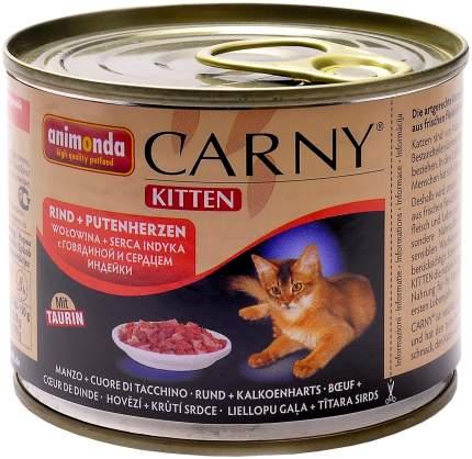 Консервы для котят Animonda Carny Kitten, говядина, индейка, 6шт, 200г