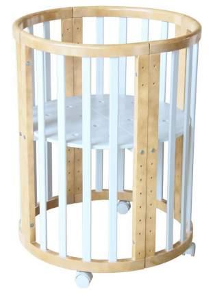 Круглая/Овальная кровать-трансформер 8 в 1 Polini Kids Simple 910, Белый/Натуральный