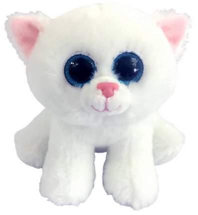 Мягкая игрушка ABtoys Котенок белый с голубыми глазками, 15 см