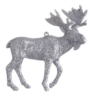 Елочная игрушка Nord Trade Co Лось серебряный WH-0052 12 см 1 шт.