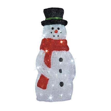 Kaemingk Снеговик светящийся в красном шарфе и цилиндре, 40 см, уличный