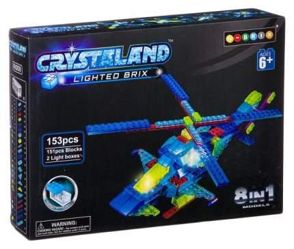 Конструктор пластмас. 153 дет., светящ. c 2-мя LED элементами, CRYSTALAND, вертолёт