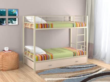 Двухъярусная кровать Redford Севилья - 2 с ящиком бежевый, молочный дуб