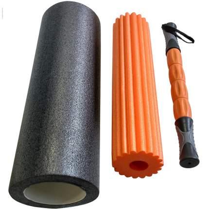 B31264 Ролик для йоги 3в1 черно/оранжевый 46x15см ЭВА/АБС/PVC