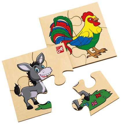 Пазл Русские деревянные игрушки 4, 4, 4, 4 детали
