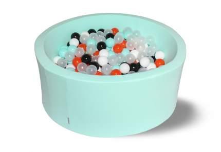 Сухой игровой бассейн Ночное сияние 40см с 250 шариками: мят, бел, черн, оранж, прозр