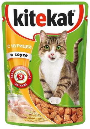 Влажный корм для кошек KiteKat, курица, 24шт, 85г