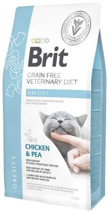 Сухой корм для кошек Brit Veterinary diet Obesity, при ожирении, курица и горох, 2кг