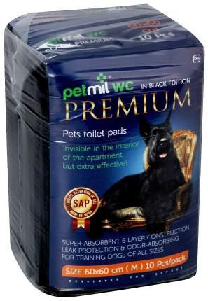 Пеленки для домашних животных Petmil одноразовые с суперабсорбентом черные 60х6010 шт