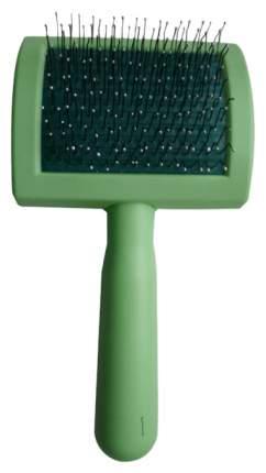 Пуходерка Zooexpress пластмассовая средняя с каплей для кошек и собак (8 х 16см) Зеленый