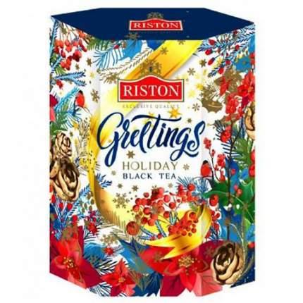 Чай Riston праздничные поздравления черный индийский крупнолистовой 90 г