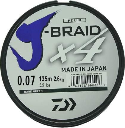 Леска плетеная Daiwa J-Braid X4 135 м 0,07 мм зеленая