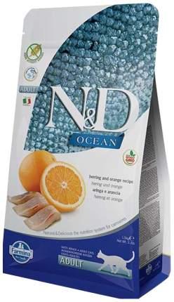 Сухой корм для кошек Farmina N&D Ocean, беззерновой, сельдь и апельсин, 1,5кг