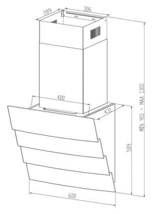Вытяжка наклонная Midea 60AN 780 GW White