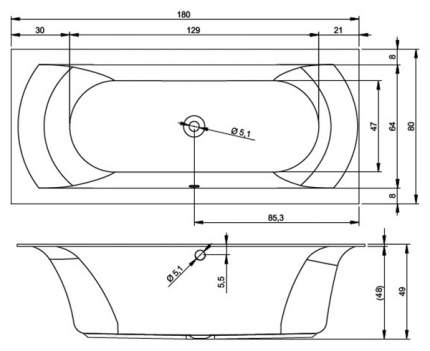 Акриловая ванна Riho Linares Velvet 180х80 без гидромассажа