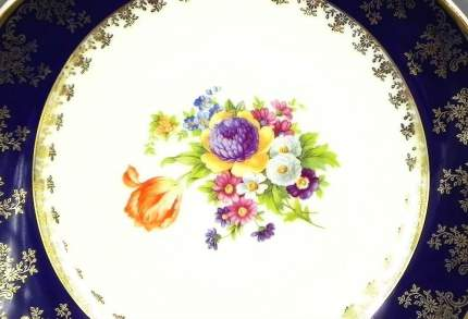 Leander Ваза для фруктов Мэри-Энн Темно-синяя окантовка с цветами, на ножке, 23 см
