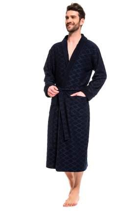 Мужской облегченный махровый халат из бамбука Peche Monnaie 420, синий, 4XL