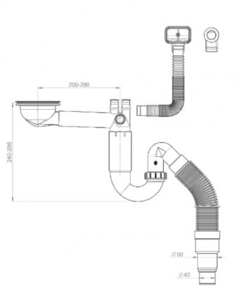 Сифон для кухонной мойки Prevex PL1-D9CF5-SANT-01