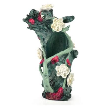 Декорация для аквариума biOrb Зеленый пень с цветами, 10х8х14 см