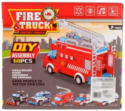 Конструктор блочный Пожарный фургон, световые и звуковые эффекты 60 деталей Sima-Land