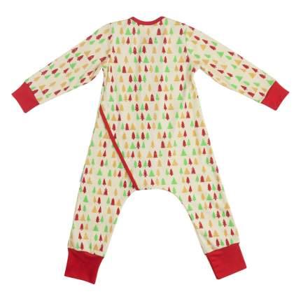 Пижама детская Bambinizon на кнопках Елочки ПНК-ЕЛ р.80