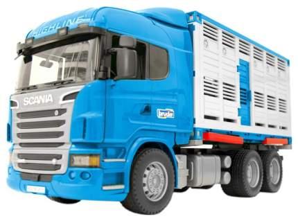 Машинка пластиковая Bruder Фургон Scania для перевозки животных с коровой