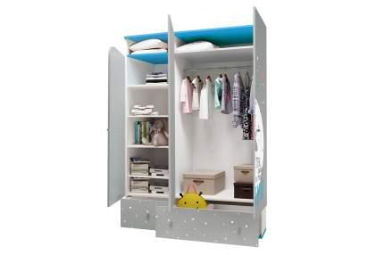 Детский шкаф трехсекционный Polini Disney baby Микки Маус с ящиками, белый-серый