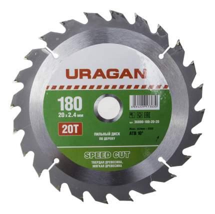 Пильный диск по дереву  Uragan 36800-180-20-20