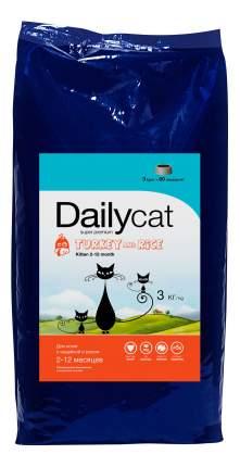 Сухой корм для котят Dailycat Kitten, индейка с рисом, 3кг