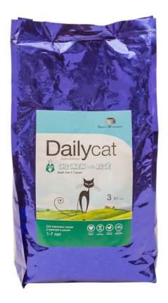Сухой корм для кошек Dailycat Adult, курица и рис, 3кг