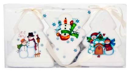 Набор елочных игрушек Winter Wings Елочки Снеговики Блестящие 7,5х9 см 3 шт