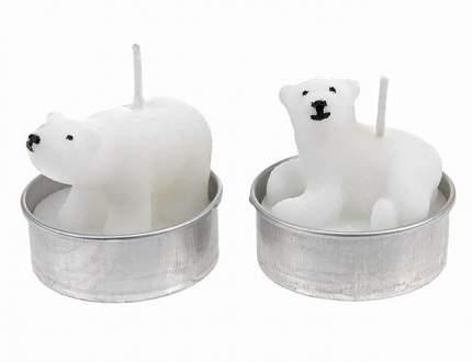 """Koopman Набор свечей """"Белый Мишка"""", 5 см, 4 шт E15404181"""